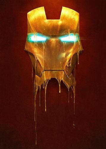 2000's Movie - IRON MAN - MASK MELTED ART canvas print - self adhesive poster - photo print